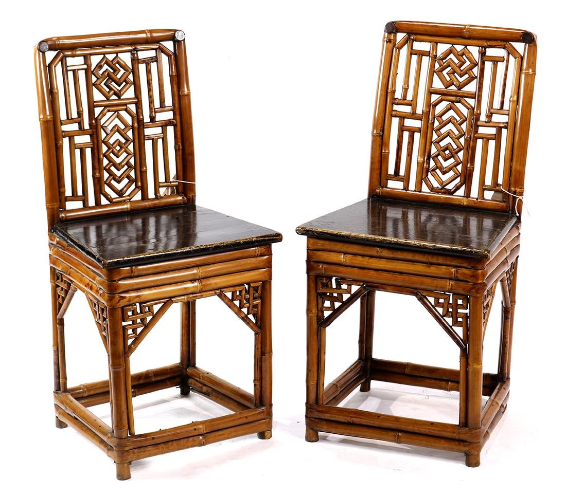 Chinese Bamboo and Wood Side Chairs
