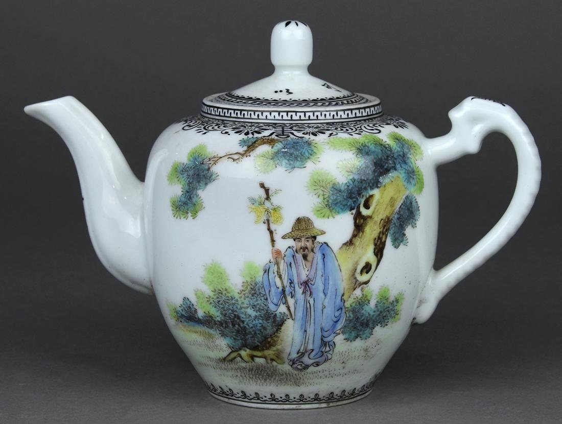 Chinese Enameled Tea Pot