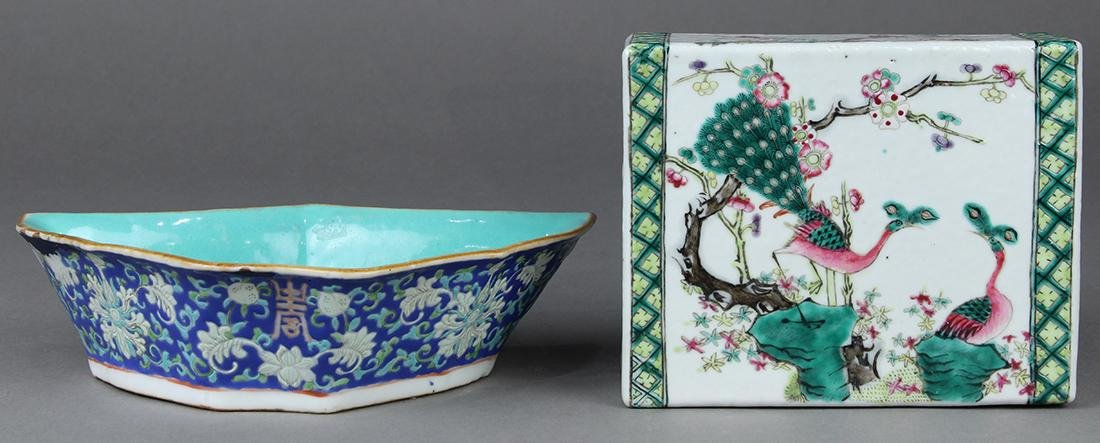 Two Chinese Porcelain Pillow and Dish