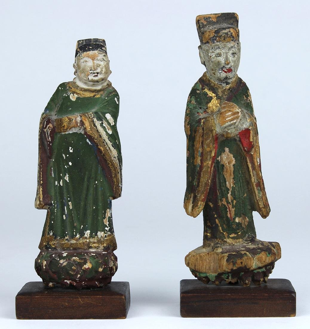 Chinese Polychrome Wood Figures