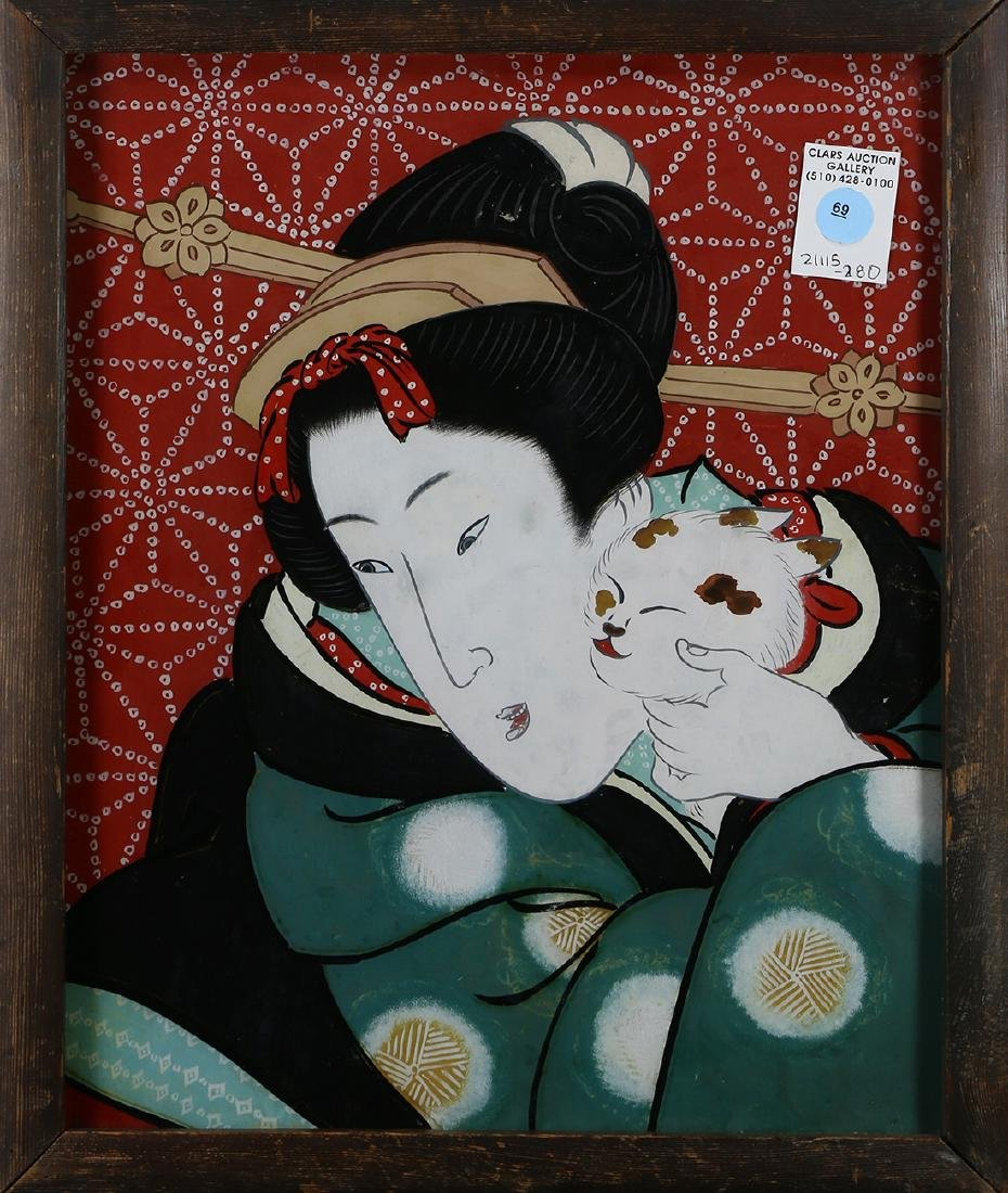 Japanese Reverse Glass Painting