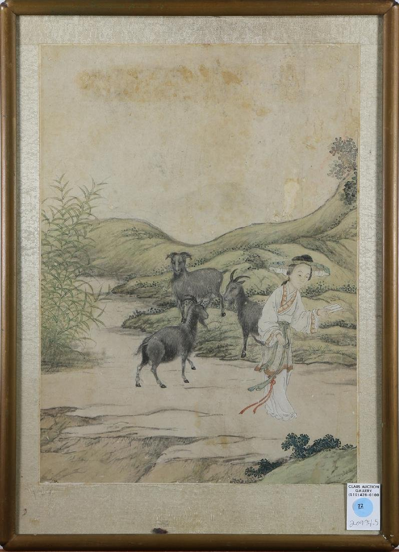 Chinese framed painting, Beauty and Three Rams