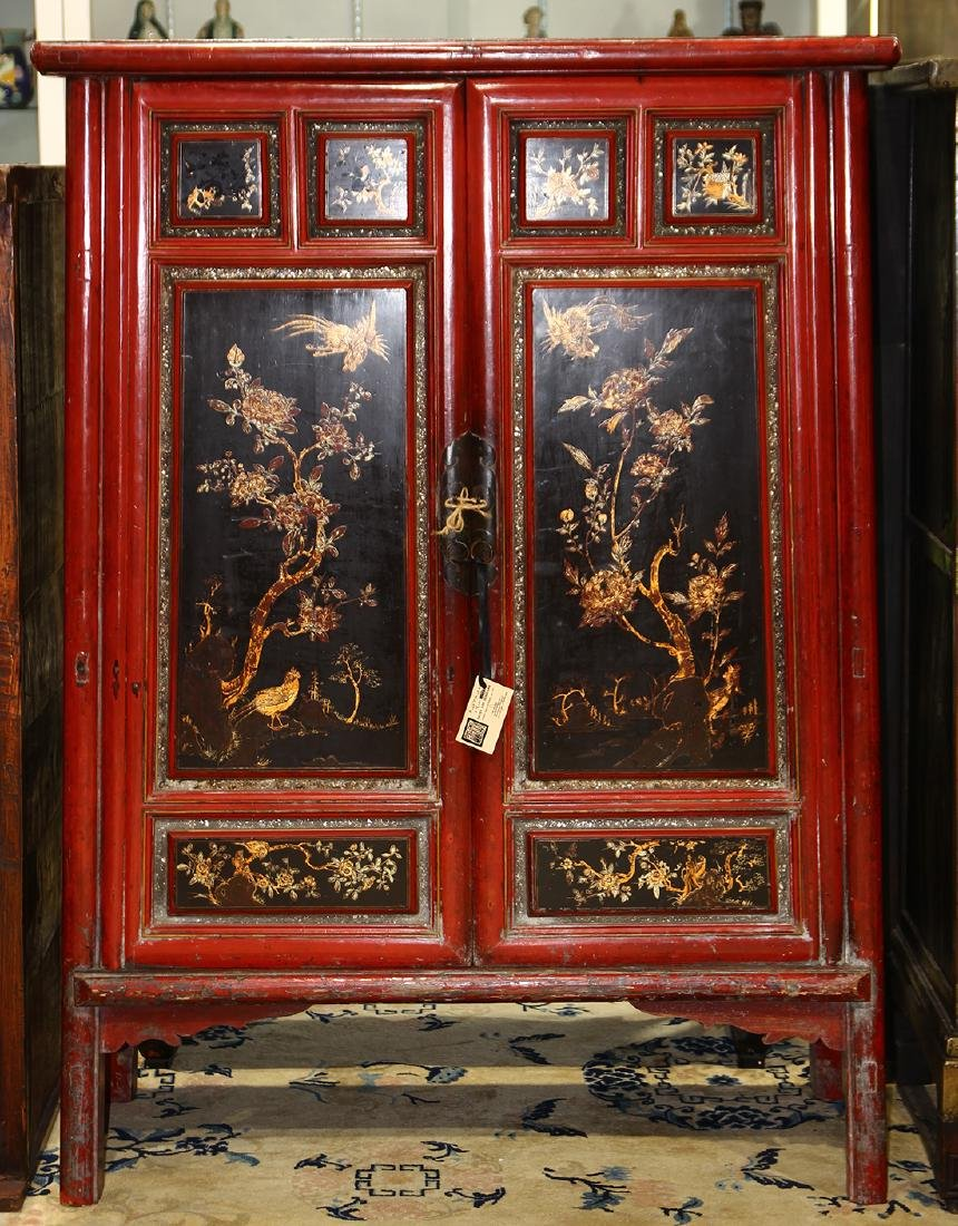 Chinese Lacquered Cabinet, Bird/Flower