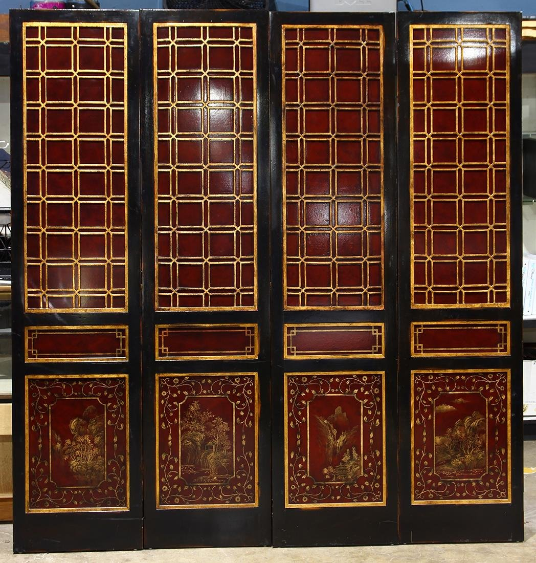 Asian-style Four Panel Screen
