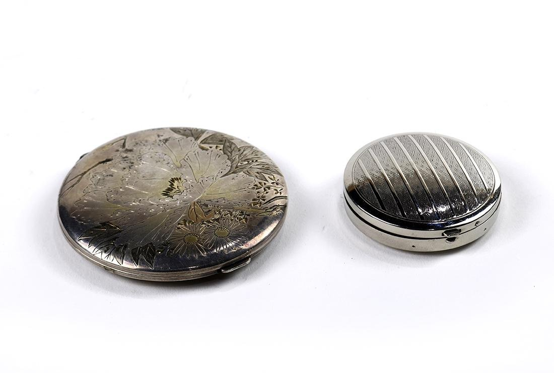 (lot of 2) Assorted silvered metal compact group,