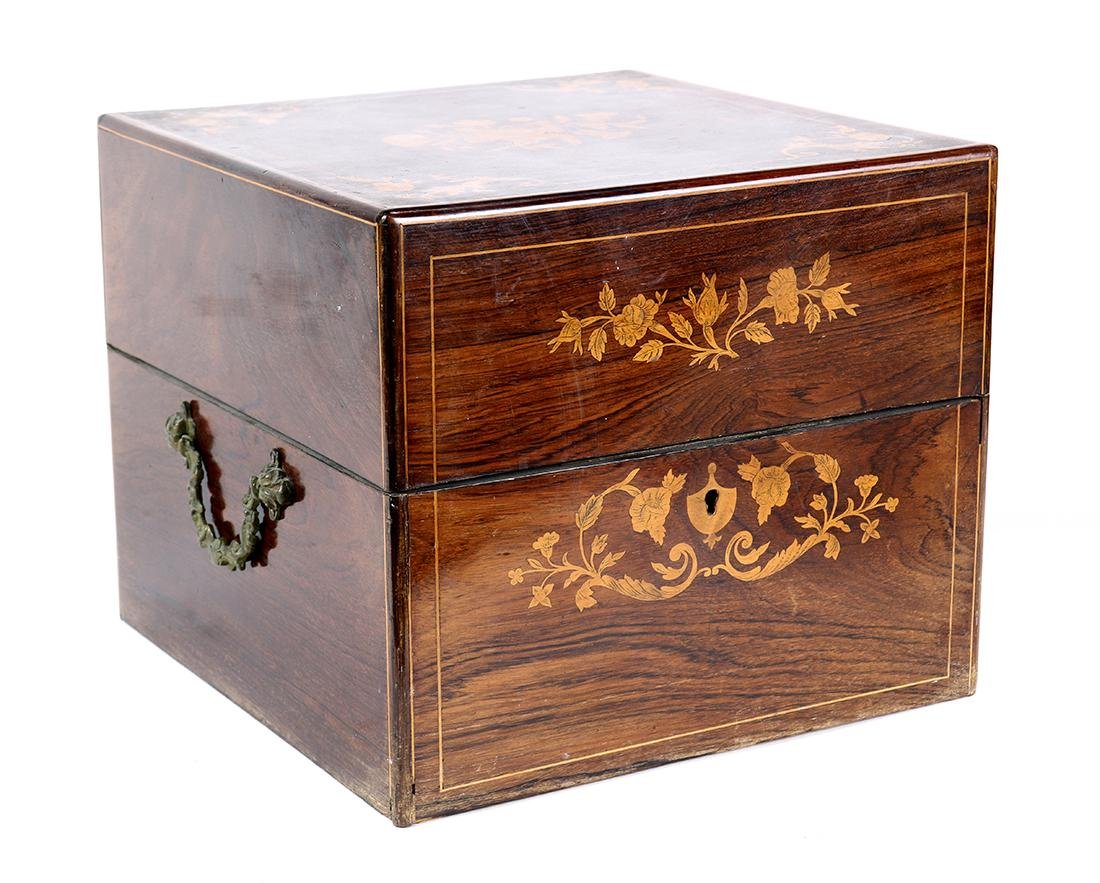 Inlaid Rosewood tatulus box, early 20th Century, the