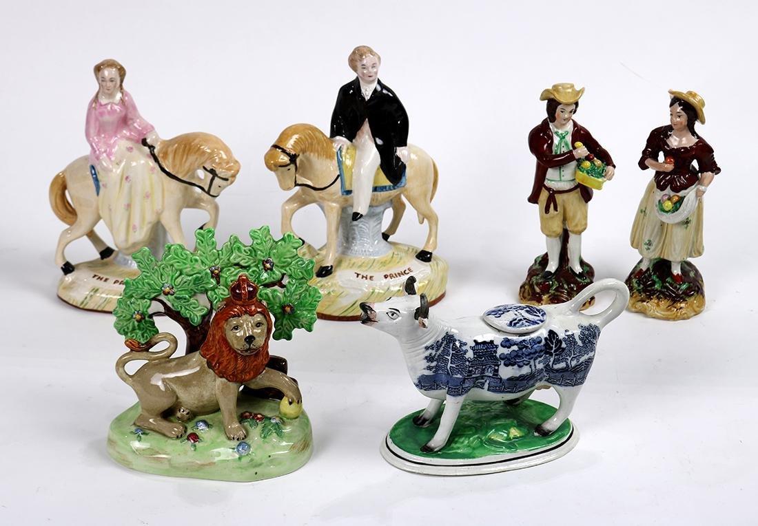 (lot of 6) Staffordshire porcelain figural group,