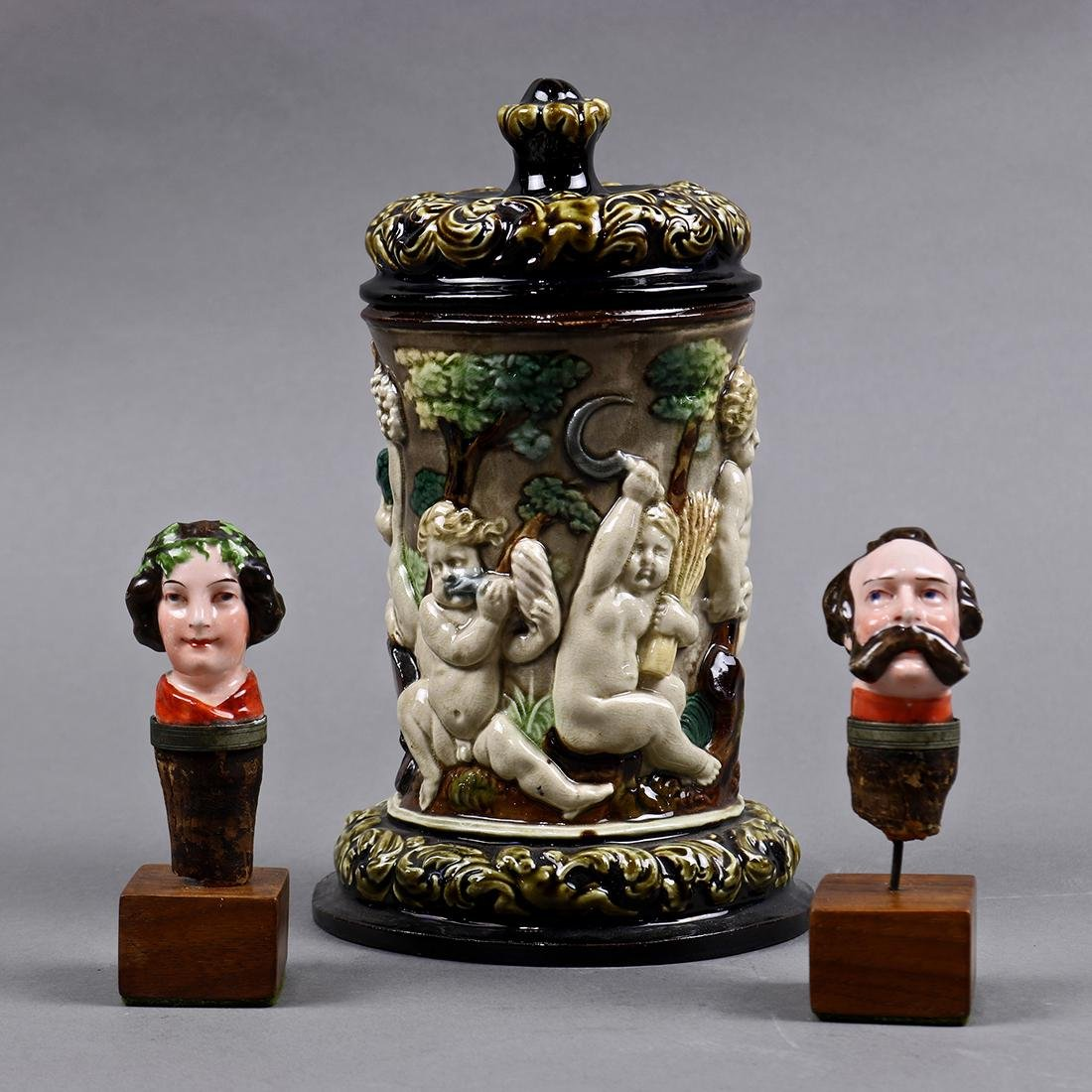 (lot of 3) Figural wine stopper group, consisting of a