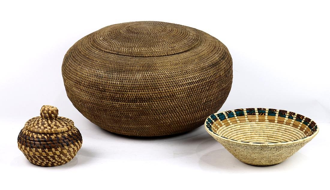 (lot of 3) Modern woven basketry group, including an