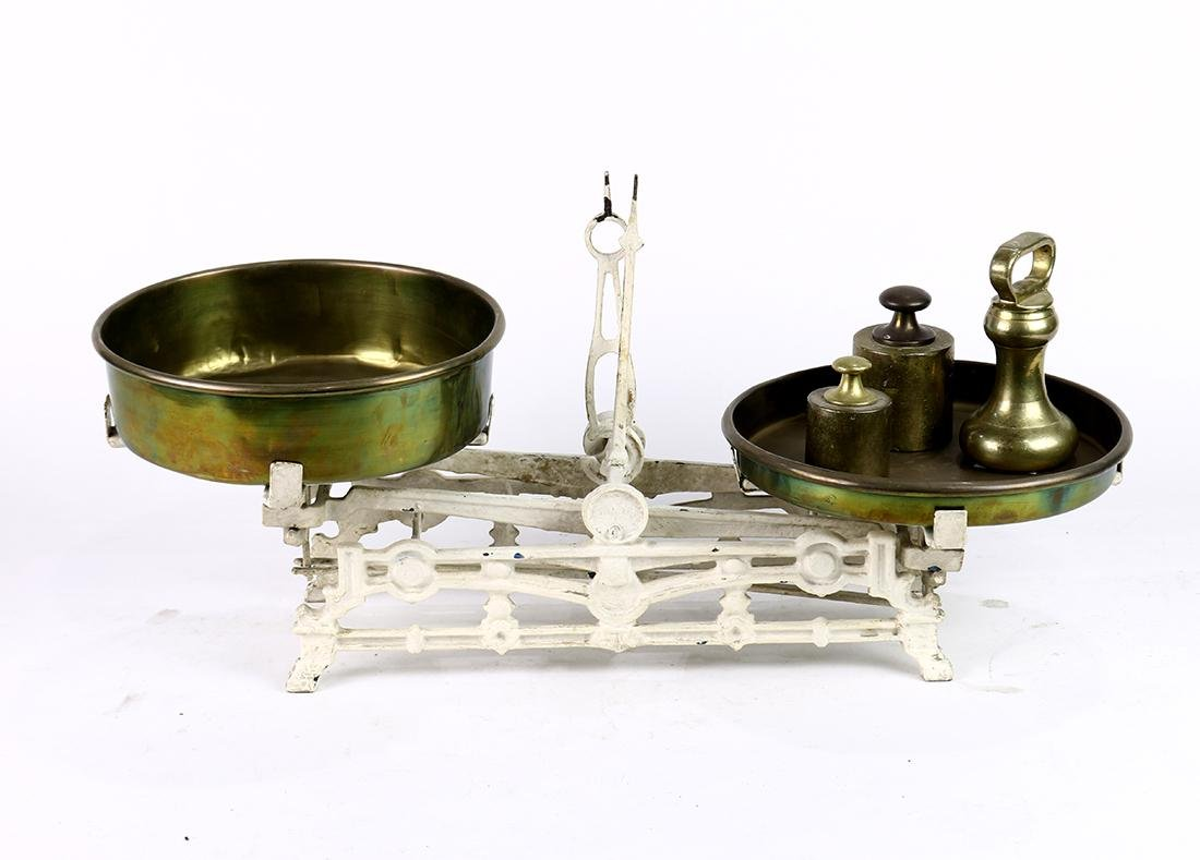 "Cast iron and brass scale, early 20th Century, 10""h x"