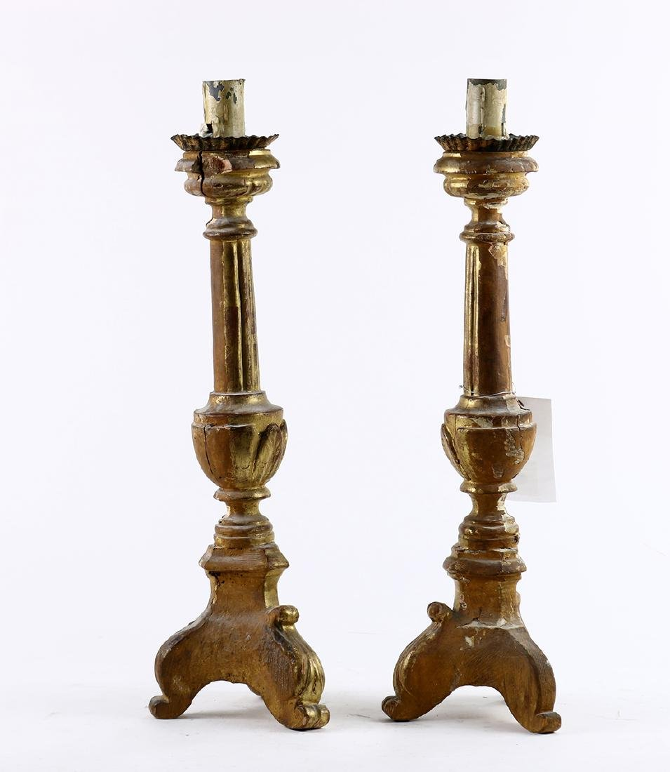 Pair of Italian Baroque giltwood candle prickets