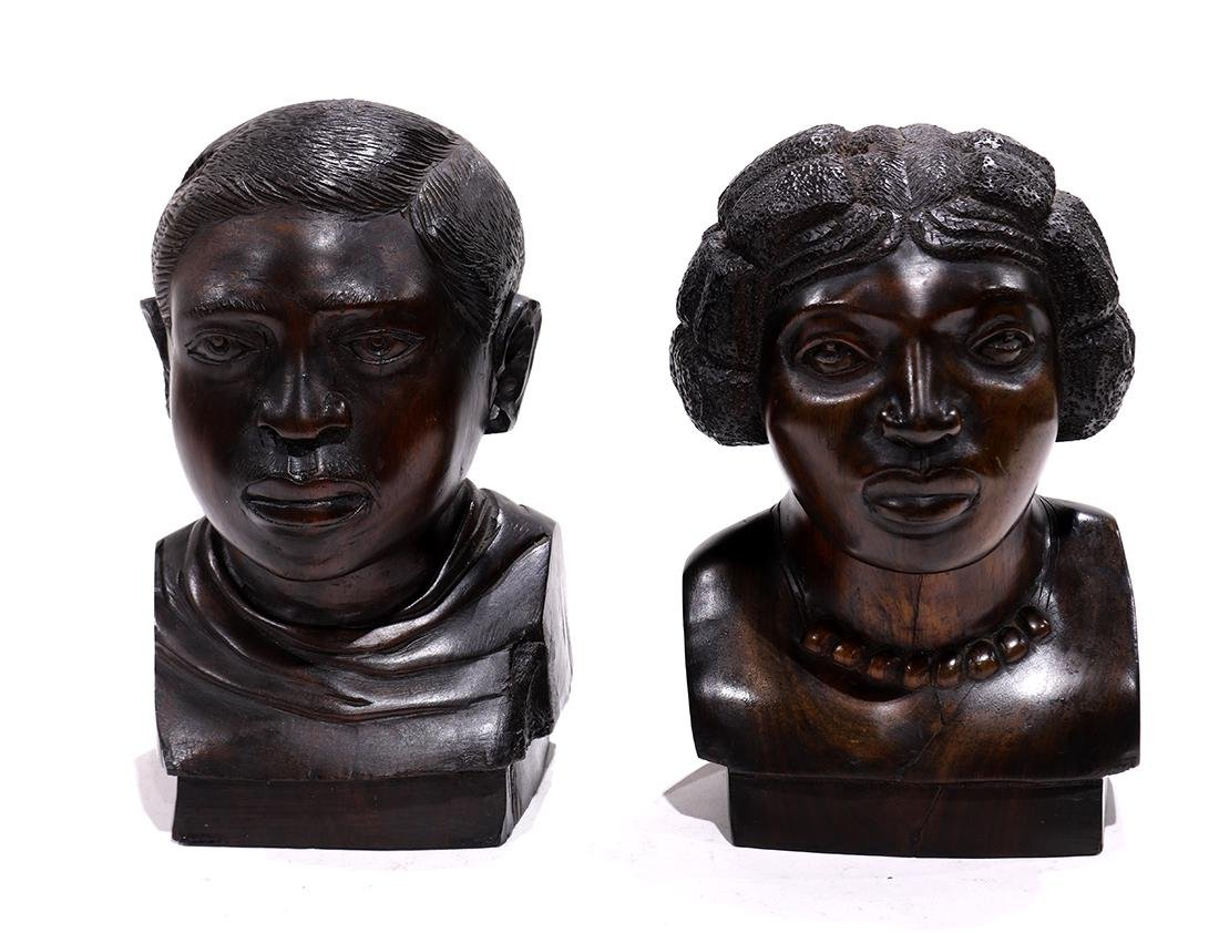 (lot of 2) African carved bust group, consisting of
