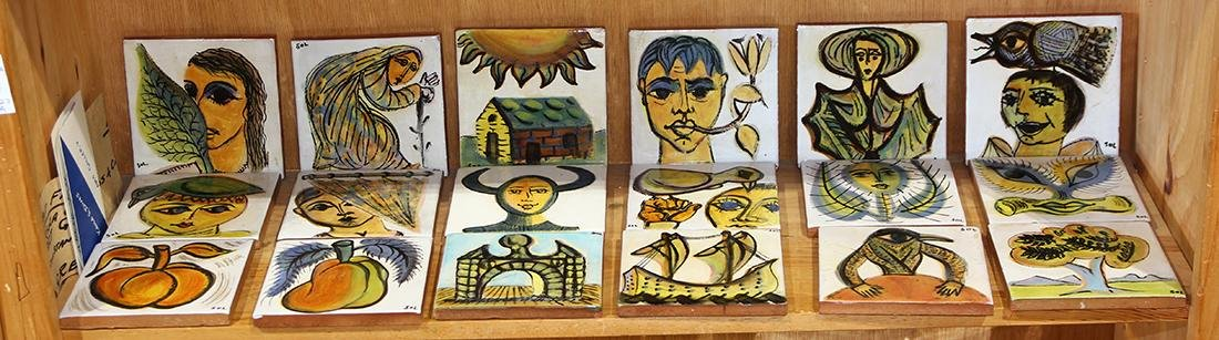 (lot of 18) Greek Mid-Century ceramic tile group
