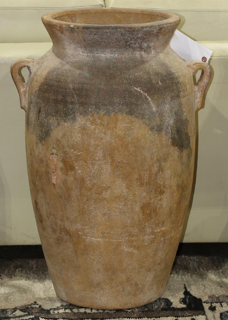 Greco Roman style terra cotta urn, the tapering ovoid