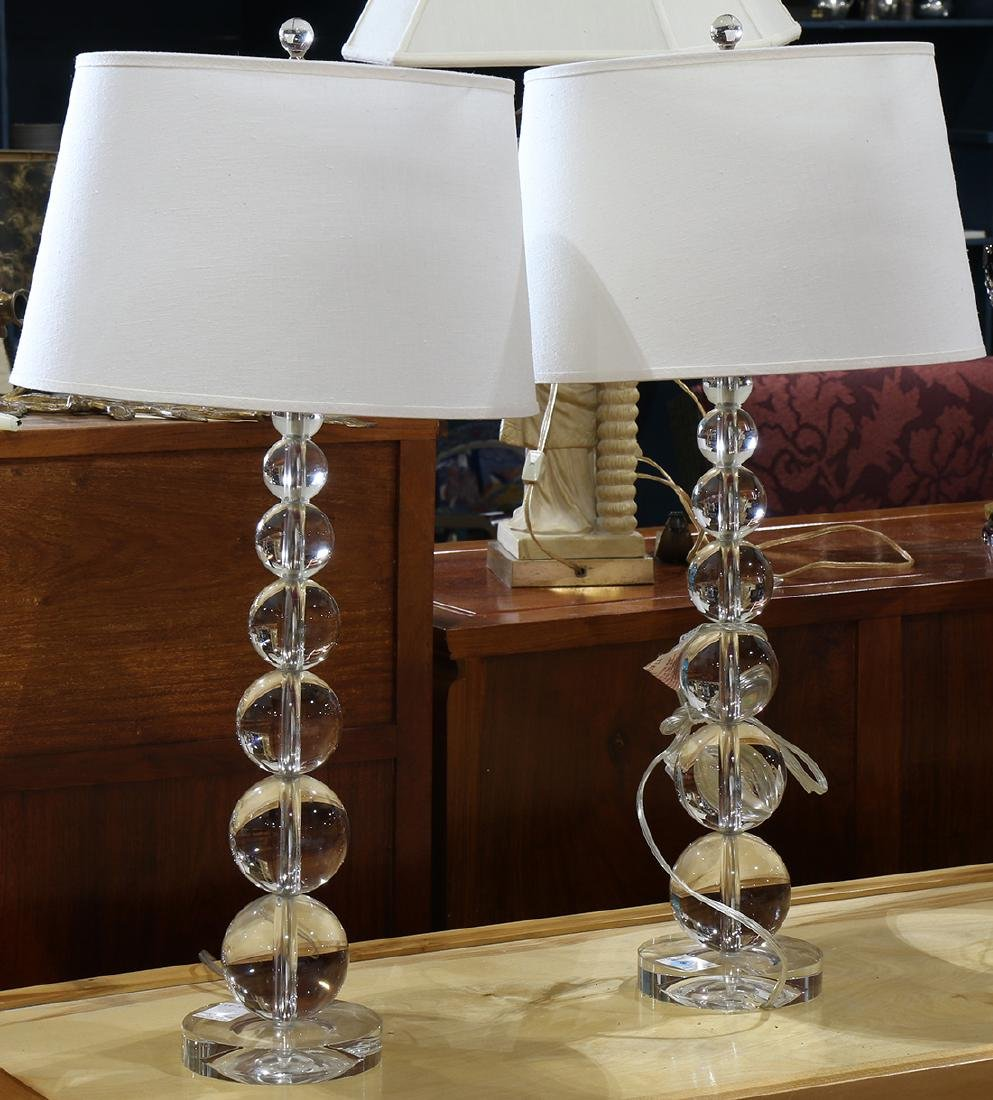 Pair of Modern glass ball table lamps