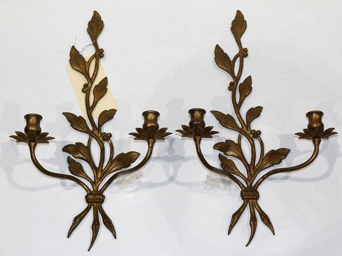 Pair of Continental gilt metal wall sconces