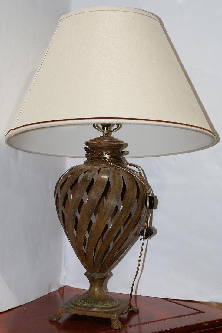 (lot of 2) Patinated metal table lamps