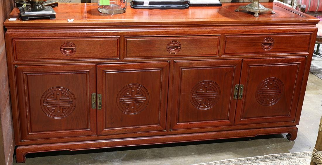 (lot of 2) Chinese hardwood buffets, with a row of
