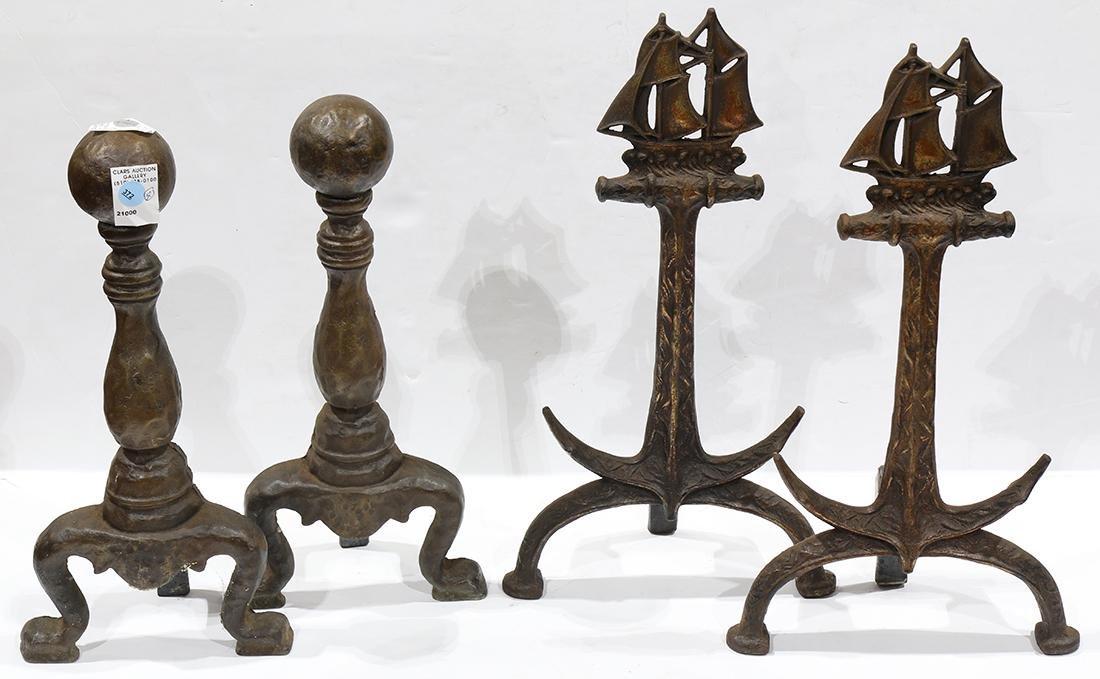 (lot of 4) Cast iron andiron group
