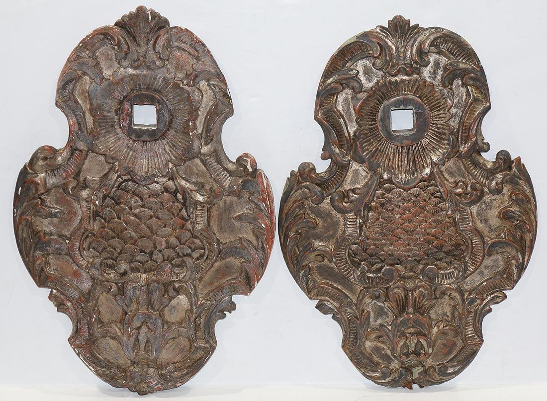 (lot of 2) Continental partial gilt architectural