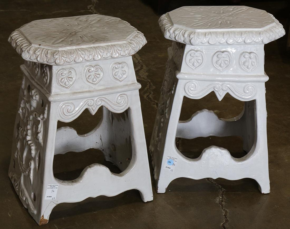 Pair of Neoclassical style faience garden stools