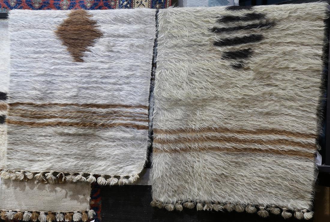 (lot of 2) Peruvian Alpaca rugs, largest: 2' x 4'