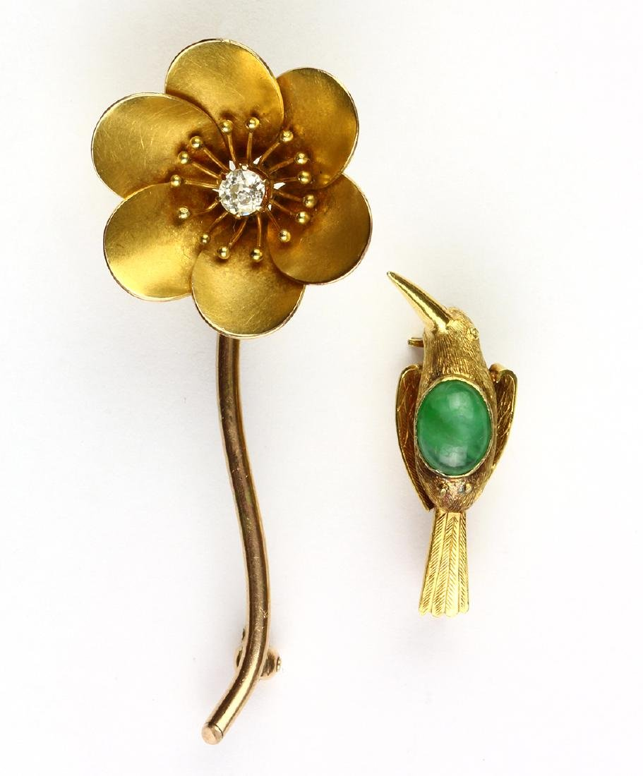 (Lot of 2) Diamond, jade and yellow gold brooches