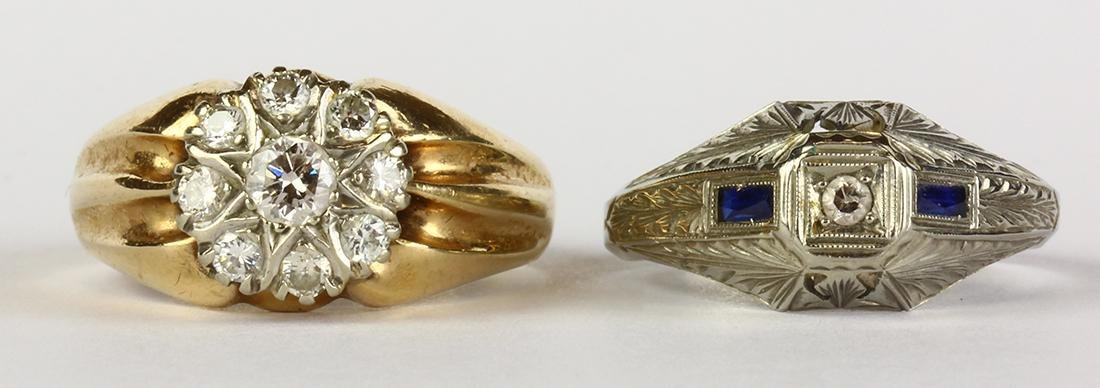(Lot of 2) Diamond, synthetic sapphire and gold rings