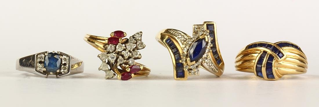 (Lot of 4) Sapphire, ruby, diamond and gold rings