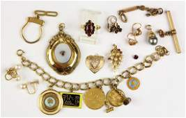 Collection of garnet cultured pearl glass gold