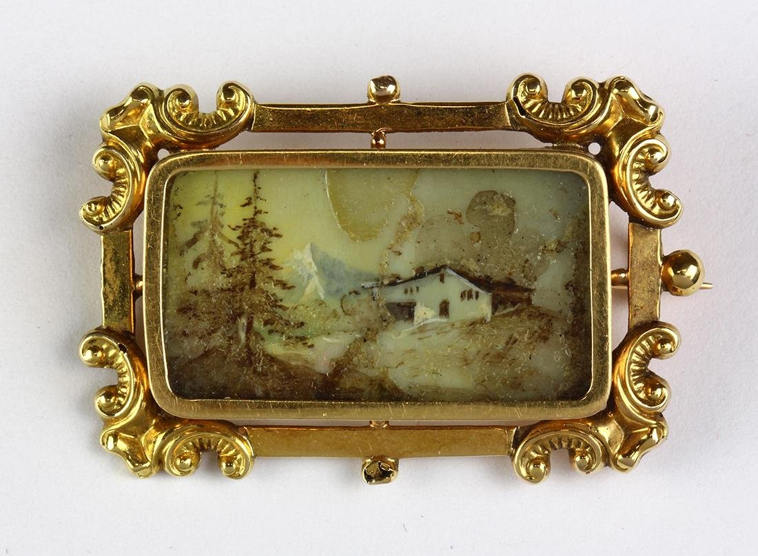 Victorian painted scene, 14k yellow gold brooch