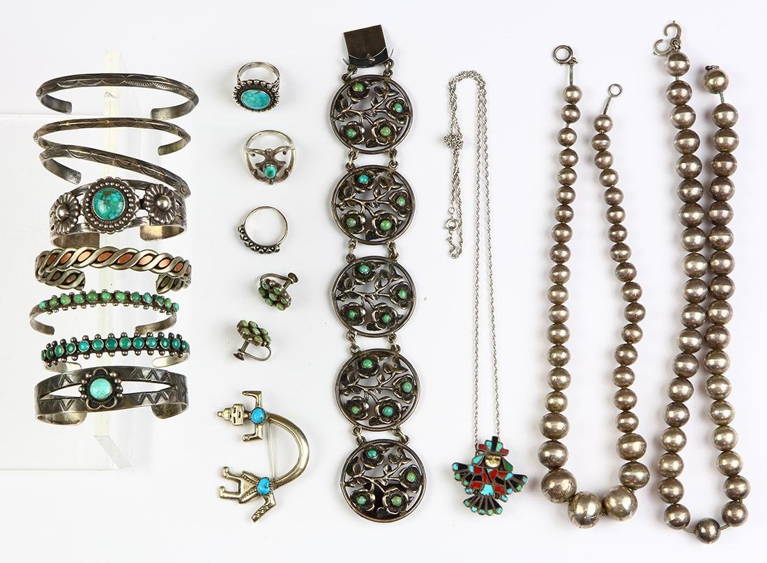 Collection of multi-stone, silver and metal jewelry