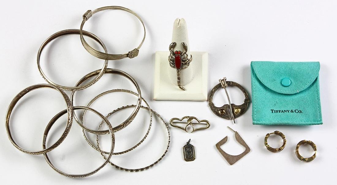Collection of sterling silver, silver, 18k gold and