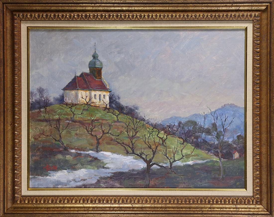 Painting, Chapel on the Hill