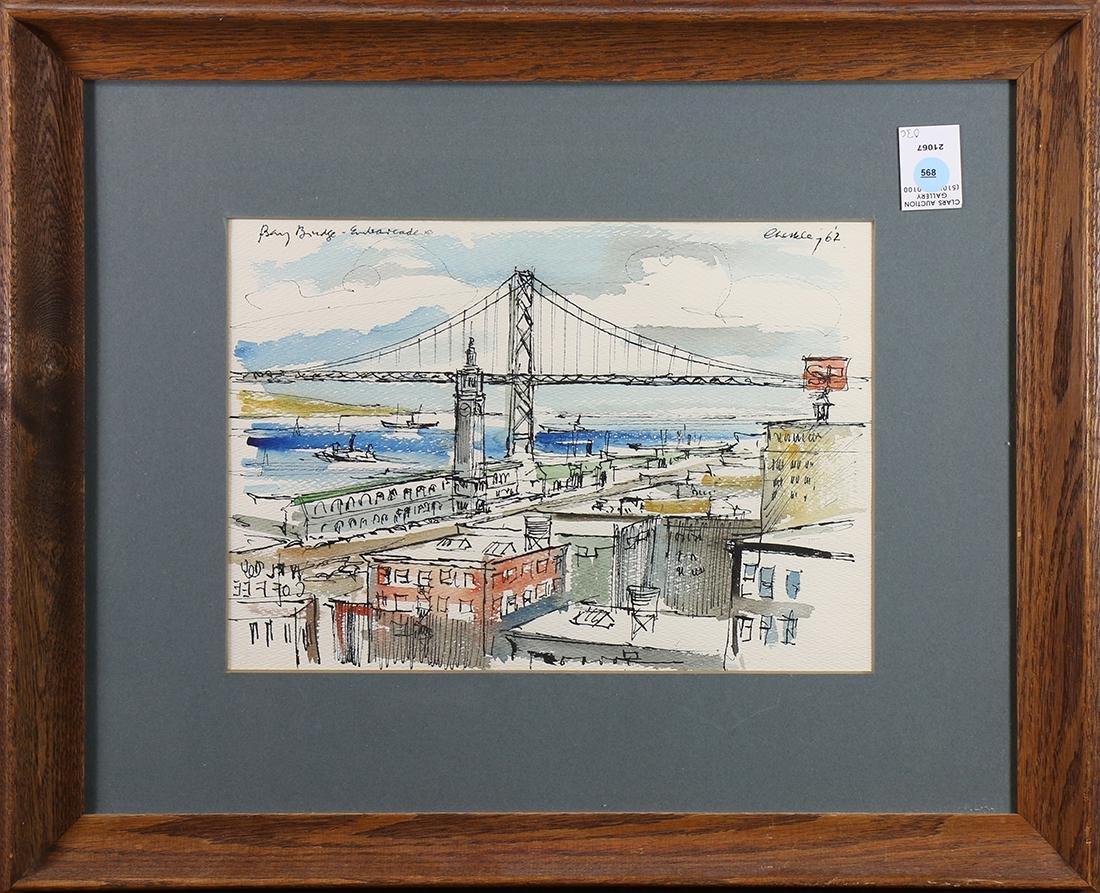 Watercolor, Bay Bridge Embarcadero