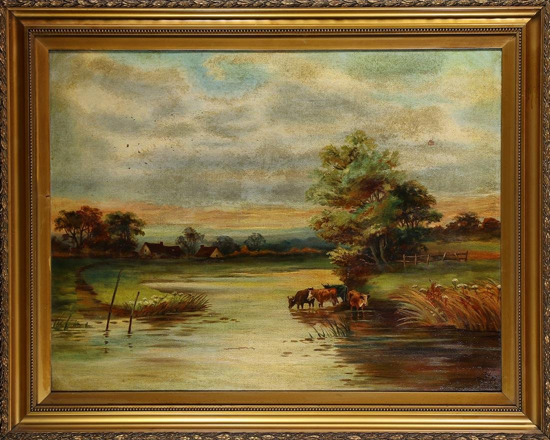 Painting, River Landscape with Cattle, 1921