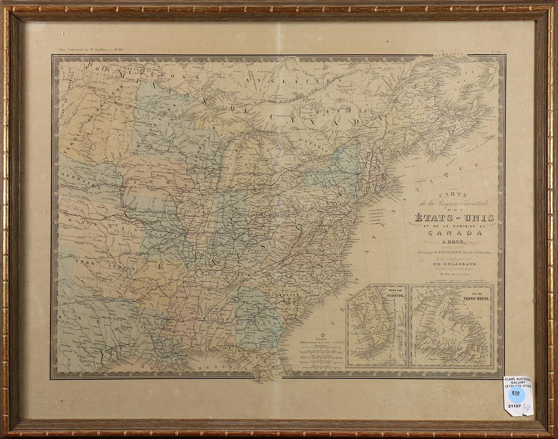 Engraved map of Canada and United States