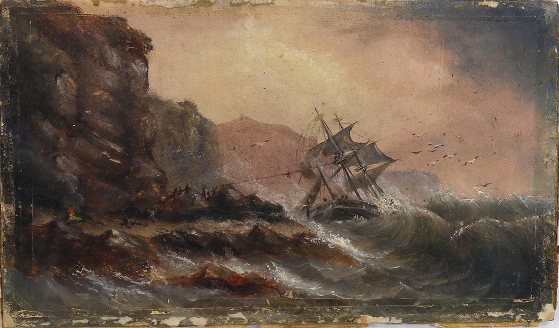 Watercolor, Wreck of Scarboro Rocks