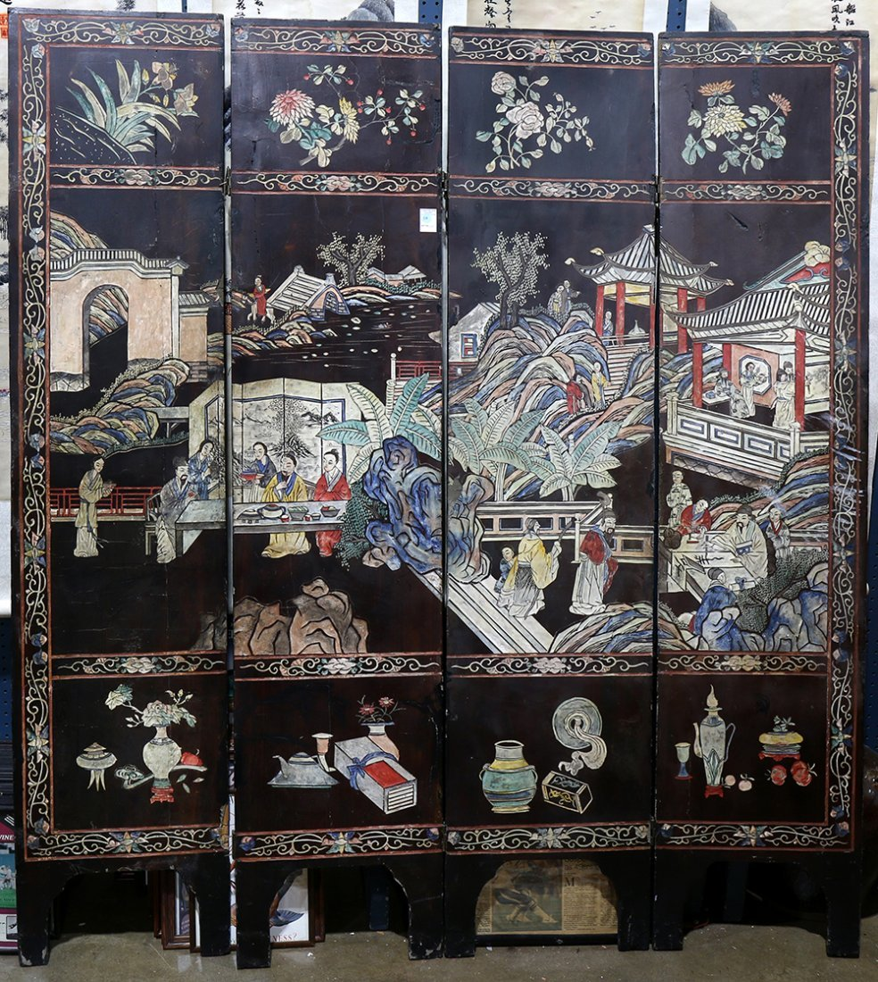 Chinese Four Panel Coromandel Screen