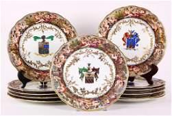 Capodimonte armorial cabinet plates