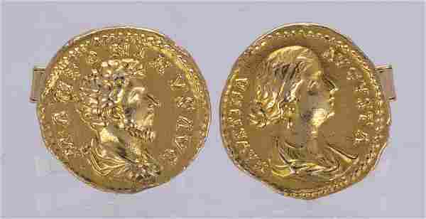 Pair of 14k yellow gold coin form cufflinks