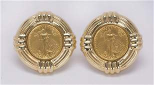 Pair of coin form, 14k yellow gold earrings