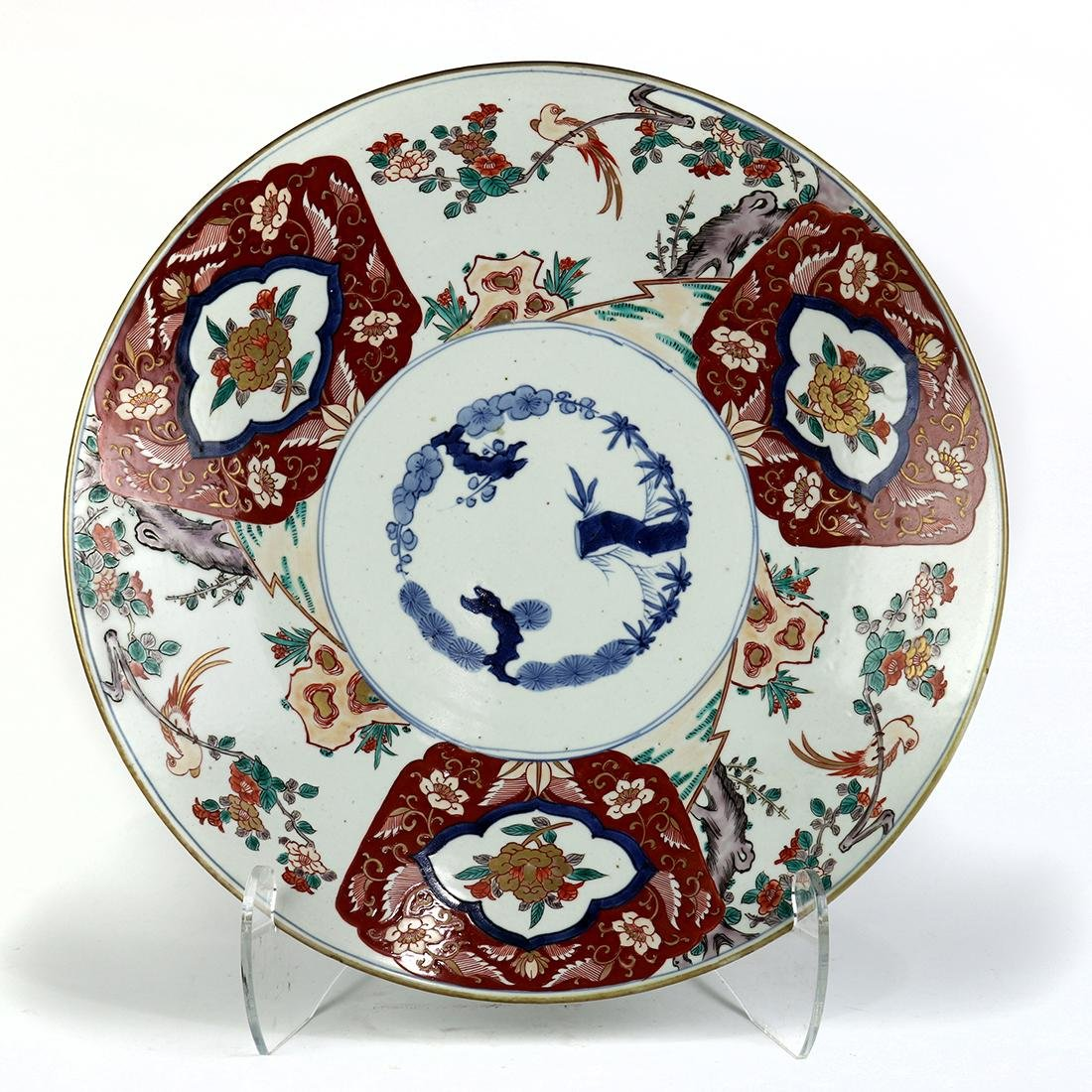 Japanese Imari Porcelain Charger, Three Friends of