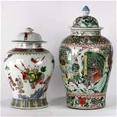 Two Chinese Enameled Porcelain Jars Figures