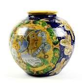 Italian faience vase, of a spherical form, having a
