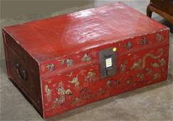 """Chinese red lacquer trunk, having a hinged top, 12""""h x"""