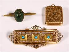 Lot of 3 Victorian beetle turquoise gold