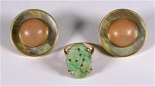 Lot of 2 Multistone and yellow gold jewelry