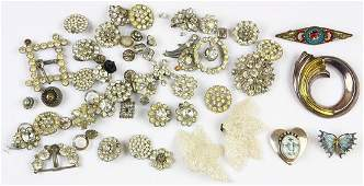 Collection of glass, enamel, silver and costume jewelry