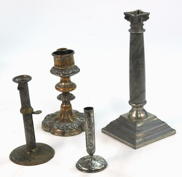19: candlesticks silverplate copper marble